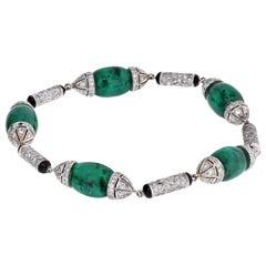 Platinum Green Emerald Cabochon Cut Link Diamond Station Bracelet