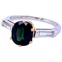 Platinum Green Sapphire Ring