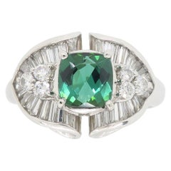 Platinum Green Tourmaline and Diamond Cocktail Ring