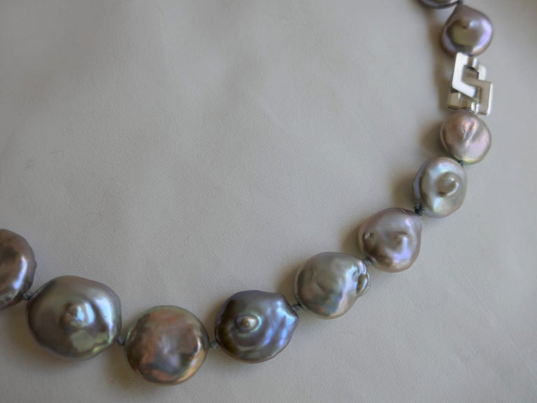 Platinum Grey Coin Keshi Cultured Pearls 925 Sterling Silver Necklace For Sale 5