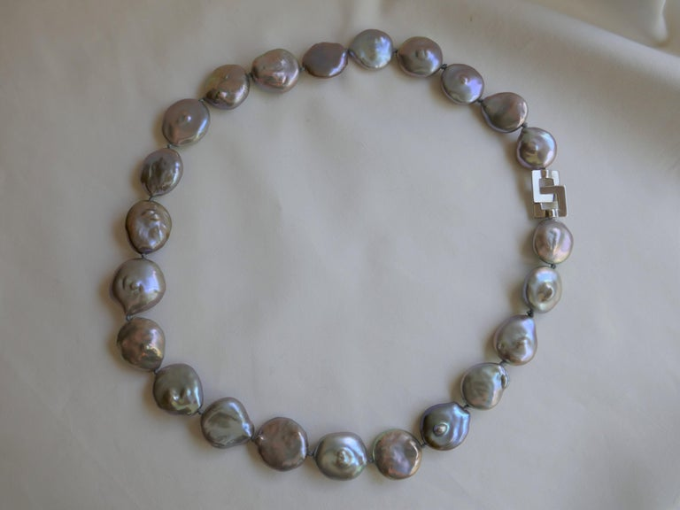 Platinum Grey Coin Keshi Cultured Pearls 925 Sterling Silver Necklace For Sale 2