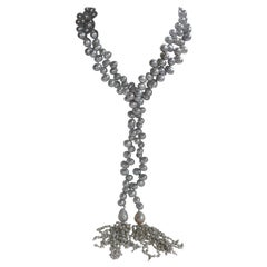 Platinum Grey Cultured Drop Pearls Baroque Sterling Tassel Long Lariat Necklace