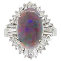 Platinum Grey Opal and Diamond Ballerina Style Ring