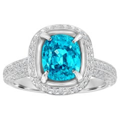 Platinum Halo Cushion Blue Zircon and Diamond Ring 'Center- 4.38 Carat'