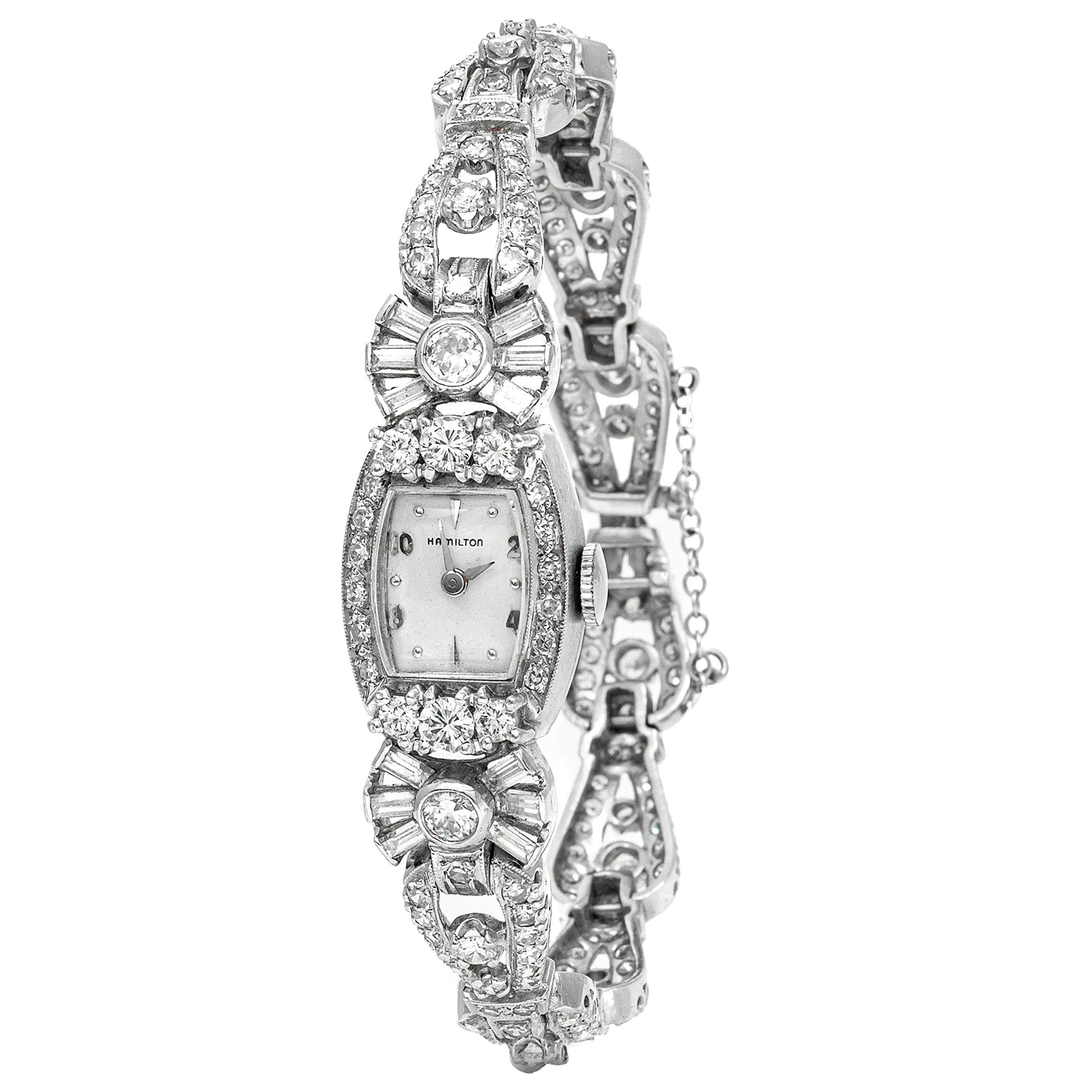 Platinum Hamilton Diamond Watch