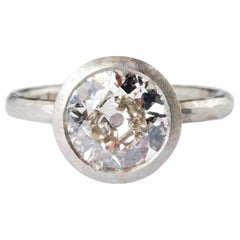 Platinum Hammered Ring with Round Old Cut Diamond 2.18 Carat