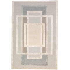 Platinum Hand-Knotted 6x4 Rug in Wool and Silk by David Rockwell