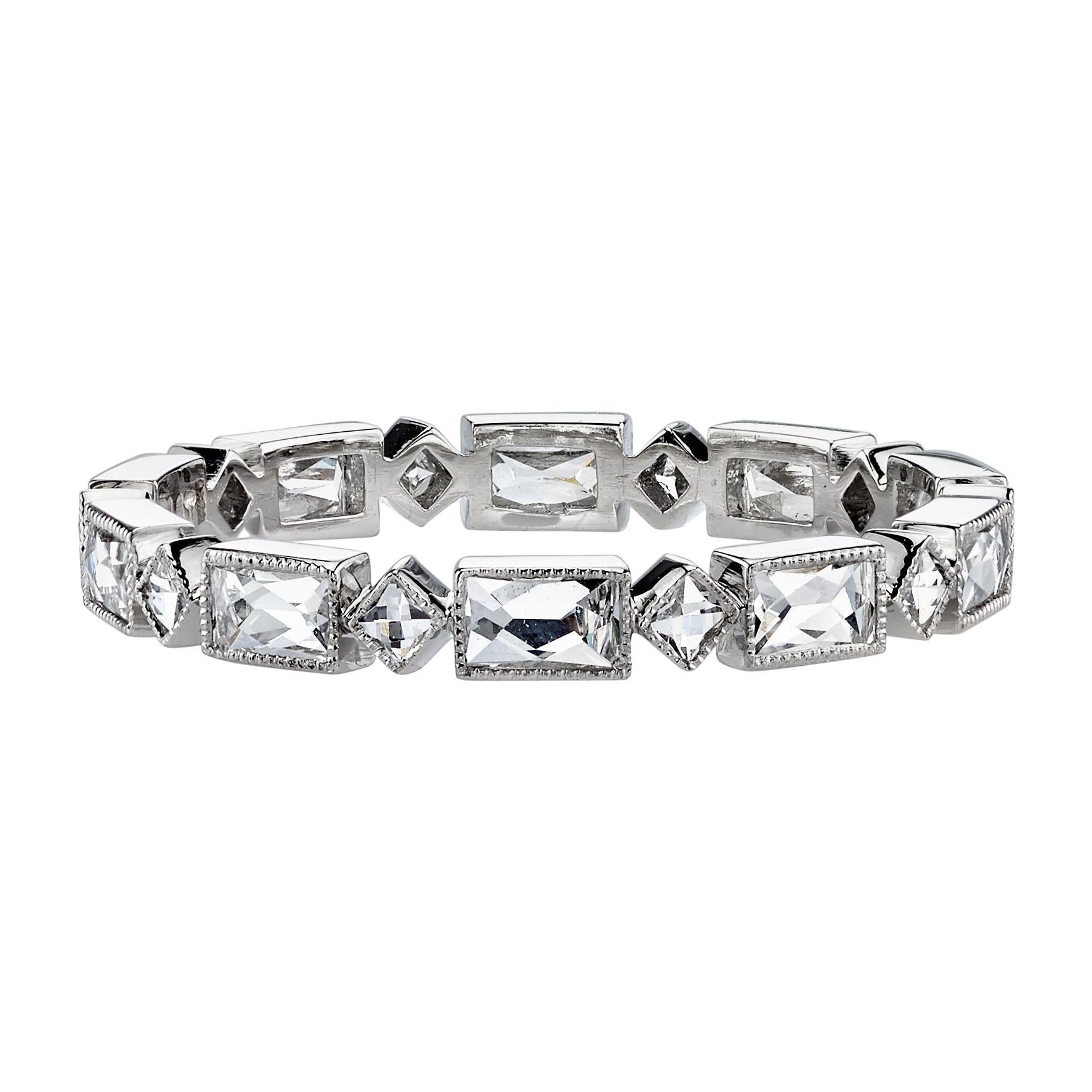 Approx. 1.00ctw French Cut Diamonds Set in a Handcrafted Platinum Eternity Band