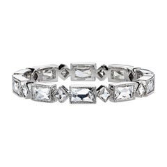 Platinum Handcrafted French Cut Diamond Eternity Band