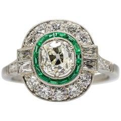 Platinum Handmade Antique Diamond, Emeralds and French Cut Diamonds Ring