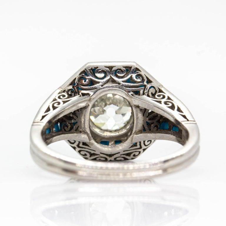 Art Deco Platinum Handmade Antique Mine Diamond and Turquoise Ring For Sale