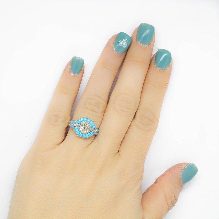 Platinum Handmade Antique Mine Diamond and Turquoise Ring For Sale 1