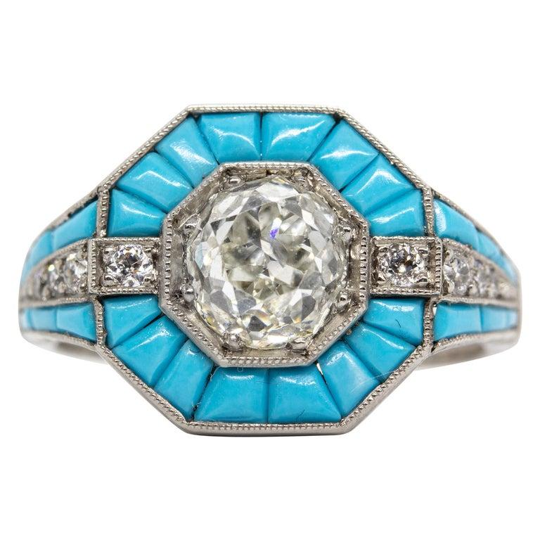 Platinum Handmade Antique Mine Diamond and Turquoise Ring For Sale