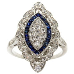 Platinum Handmade Diamonds and Sapphires Ring