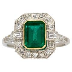Platinum Handmade Emerald and Diamonds Engagement Ring