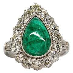 Platinum Handmade Emerald and Diamonds Halo Ring