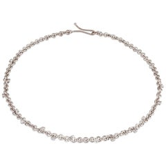 Platinum Handmade Brilliant Cut Diamond Link Necklace