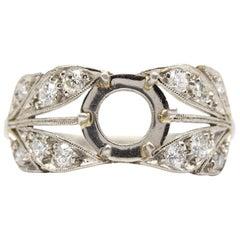 Platinum Handmade Old Mine Cut Diamonds Semi Mounting Ring
