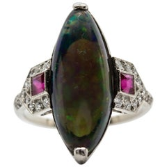 Platinum Handmade Opal and Antique Old Mine Diamonds Ring