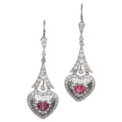 Platinum Heart-Shaped Pink Sapphire and Diamond Filigree Drop Earrings
