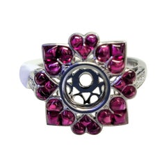 Platinum Heart-Shaped Ruby and Diamonds Ring Mount