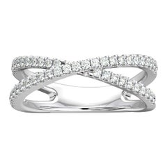 Platinum Heather 2 Rows Interweave Diamond Ring '1/3 Carat'
