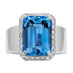 Platinum Intense Aquamarine and Diamond Ring