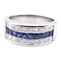 Platinum Invisible Set Diamond and Sapphire Band