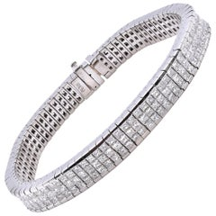 Platinum Invisible Set Princess Cut Diamond Tennis Bracelet
