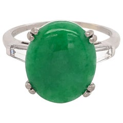 Platinum Jade and Diamond Baguettes Ring
