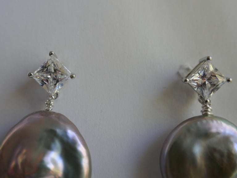 Modern Platinum Keshi Coin Cultured Pearls Cubic Zirconia 925 Sterling Silver Earrings For Sale