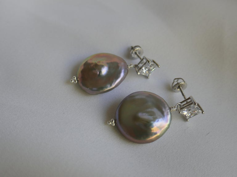 Platinum Keshi Coin Cultured Pearls Cubic Zirconia 925 Sterling Silver Earrings In New Condition For Sale In Coral Gables, FL