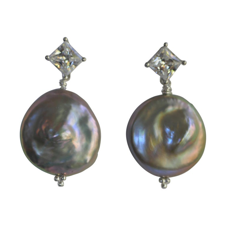 Platinum Keshi Coin Cultured Pearls Cubic Zirconia 925 Sterling Silver Earrings For Sale