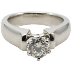 Platinum Ladies 0.85 Carat Round Brilliant J/SI2 Diamond Solitaire Ring