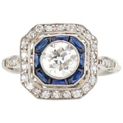 Platinum Ladies Art Deco Style Ring with Diamonds and Blue Sapphires