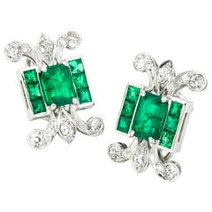 Platinum Ladies Clip-On Earrings with Natural Colombian Emeralds