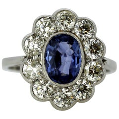 Platinum Ladies Cluster Ring with Natural Ceylon Sapphire and Diamonds