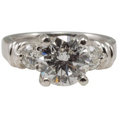 Platinum Ladies EGL Certified 2.04 Carat Diamond Three-Stone Ring 2.44tdw