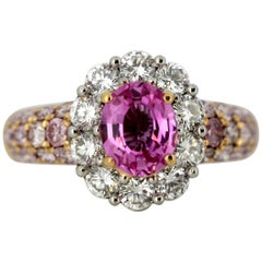 Platinum Ladies Ring with Pink Sapphire, Pink Diamonds and Diamonds