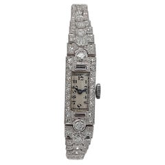 Platinum Lady Wristwatch with Old Cut or Baguette Cut Diamonds