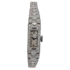 Platinum Lady Wristwatch with Old Cut or Baguette Cut Diamonds