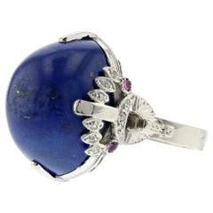 Platinum Lapis Diamond Ruby Ring