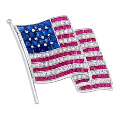 Platinum Large American Flag Brooch with Diamonds, Rubies, and Sapphires