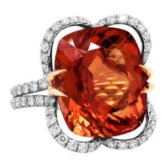 Platinum Large Cushion Cut 15.17 Orange Tourmaline Diamond Cocktail Ring