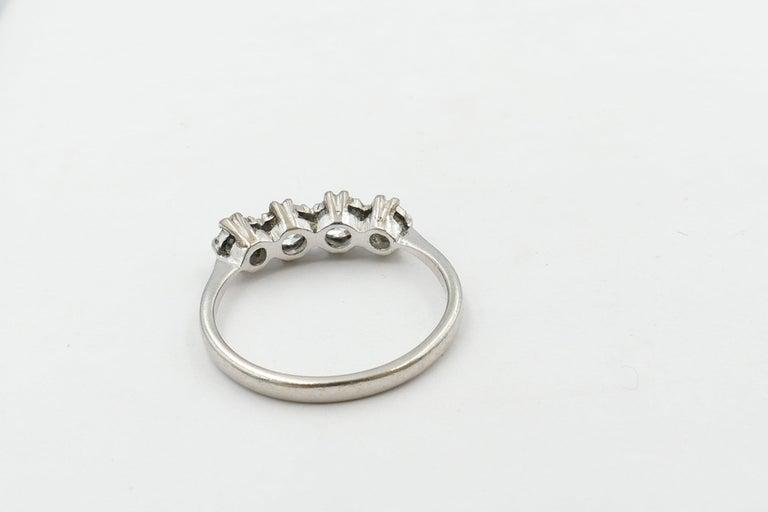 Old European Cut Platinum Late Art Deco 5 High Quality Diamond Ring For Sale