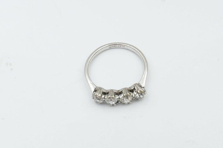 Women's Platinum Late Art Deco 5 High Quality Diamond Ring For Sale