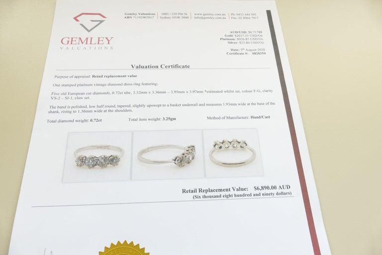 Platinum Late Art Deco 5 High Quality Diamond Ring For Sale 2