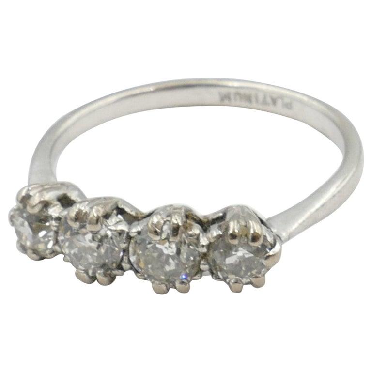 Platinum Late Art Deco 5 High Quality Diamond Ring For Sale