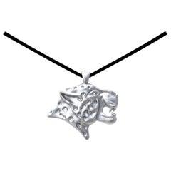 Platinum Leopard Pendant Necklace