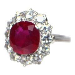 Platinum LFG Certified 4.82 Carat Natural Ruby and Diamond Ring, circa 1910